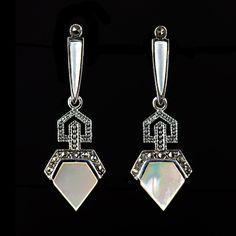 Luke Stockley Marcasite Art Deco Mother of Pearl Earrings | Alexandra May Jewellery