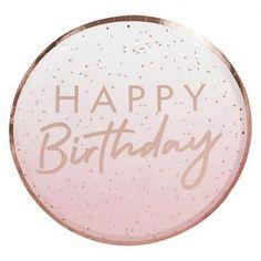 Artikelbild zuordnen - CreaDIVA.ch Ballon- und Geschenkshop Happy Birthday Rose, Birthday Roses, Birthday Lunch, Birthday Plate, Birthday Table, Gold Birthday, Décoration Rose Gold, Rose Gold Paper, Gold Foil Paper
