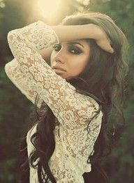 Dark hair, smokey make up, dark eyes, bronzy skin and glossy pink lips against lace ~ breathtakingly beautiful!