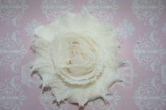Shabby Chic Hair Clip- Chiffon Flower - Ivory Flowers - Alligator Clip