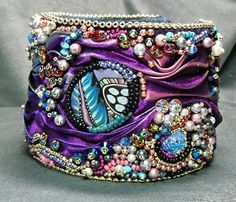 """This bead embroidery bracelet I call """"Gypsy's Silk"""". The """"Gypsy"""" part ..."""