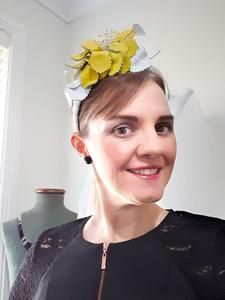 This was such a fun piece to make. This headband is a fascinator, ready to wear!. View now or contact me for a custom order!. www.julieherbertmillinery.com.au Fascinator, Headpiece, Leather Headbands, Hats For Women, One Size Fits All, White Leather, Colour Yellow, Color, Aud