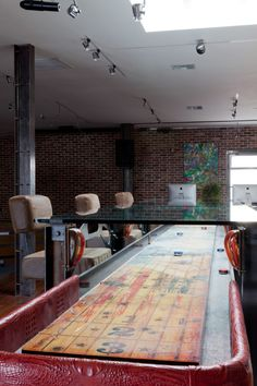 """But then the table is like, """"NOPE! I'm secretly a repurposed shuffleboard table!"""" Now we wanna play shuffleboard. BRB. Game Room Tables, Table Games, Game Rooms, Shuffleboard Table, Multipurpose Room, Corporate Interiors, Cool Office, Break Room, Rustic Design"""