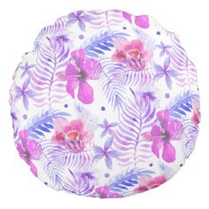 Tropical Nature Flower Round throw cushion - home gifts ideas decor special unique custom individual customized individualized