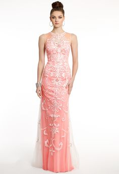 Chiffon Dress With Illusion and Appliques from Camille La Vie and Group USA