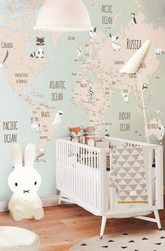 Decorar las habitaciones de bebés con mapas. Ideas, modelos, inspiración fotos. Descubre lo bonitos que quedan los dormitorios decorados con mapas.
