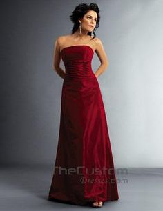A-line Strapless Floor-length Taffeta Bridesmaid Dresses 15502067