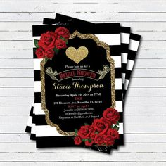 Valentine bridal shower invitation red and gold by CrazyLime