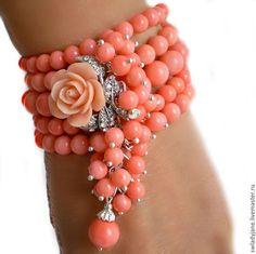 Купить Браслет с кораллом розовым подвесками РОЗОЧКА МОЯ! (Серьги) - браслет с кораллом, розовый коралл