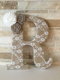 Burlap and lace - lace burlap letter with flowers bridal shower, baby shower and nursery decor Flower Letters, Diy Letters, Letter A Crafts, Wooden Letters, Framed Monogram Letters, Cardboard Letters, Burlap Projects, Burlap Crafts, Craft Projects