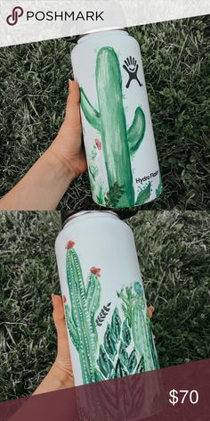 Painted Hydroflask Do you want your water bottle to stand out from others? Well we can make that happen! You can choose any design you want and we can get it hand painted to any water bottle of your choice! HydroFlask Other Hydro Painting, Cactus Painting, Bottle Painting, Water Bottle Art, Cute Water Bottles, Aluminum Water Bottles, Water Bottle Design, Plastic Bottle, Drink Bottles