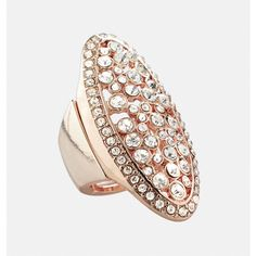 Avenue Oval Rose Gold Stretch Ring ($10) ❤ liked on Polyvore featuring jewelry, rings, plus size, rose gold, drusy ring, rose gold rings, druzy ring, red gold ring and druzy jewelry
