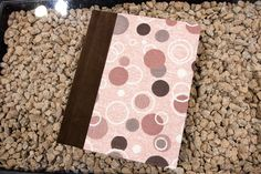 """Amazing wedding album by Finao Albums www.finao.com """"Instant Karma"""" fabric with """"Junkyard Dog"""" suede leather.  # wedding album senior portrait boudoir baby book photography photographer pink brown polka dots circles rings suede"""