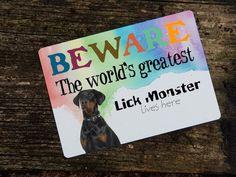 doberman sign - beware lick monster - beware of the doberman - dog - pet - door or wall aluminium sign - x Doberman Dogs, Pet Door, Aluminum Signs, Dog Signs, Messages, Pets, Wall, Text Posts