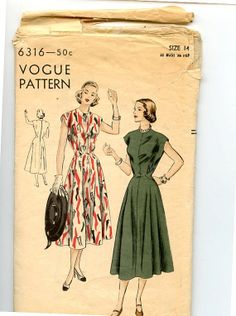 1940s Dress Pattern Vogue 6316 Easy to Make by VioletCrownEmporium, $18.00