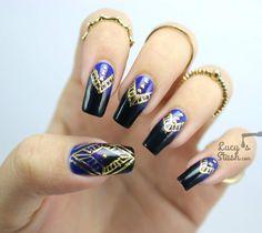 Gold Foil Aztec Print Nail Art Design