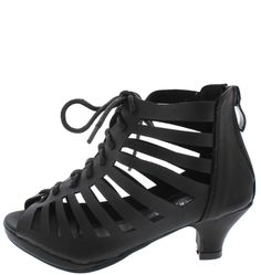 ROMAN30K BLACK CAGED LACE-UP CAGED KIDS LOW HEEL ONLY $10.88