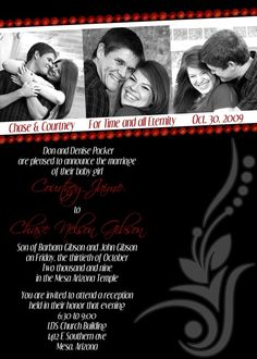 Modern Black and Red Wedding Invitation