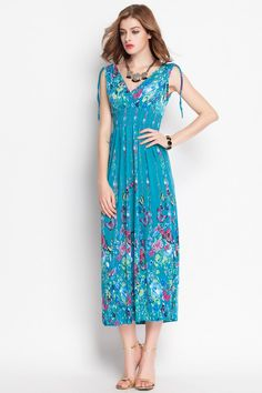 Sandbeach Style V Collar Flower Printed Dress _Maxi Dress_Dresses_Women's clothing_Wholesale Clothing online from China,Cheap Korean clothes wholesaler