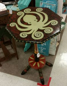 Hand Painted By Artist Funky Furniture Octopus Table Tropical Aquatic Fish  Sea Ocean Table Available For Sale At Treasure Trove Mini Mall In Hudson,  Fl.