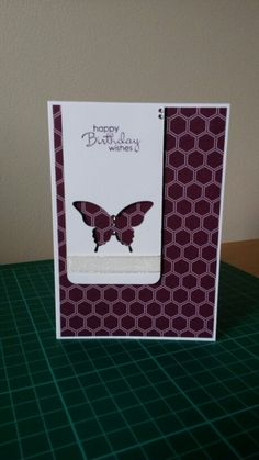 Birthday Card. Stampin' Ups Moonlight DSP, Elegant Butterfly Punch & Sentiment from Petite Pairs Stamp Set (SS)