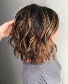 Image result for caramel highlights on dark brown curly hair medium length