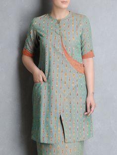 Buy Green Orange Ikat Cotton Cross Over Kurta by Indian August Apparel Tunics… Salwar Neck Designs, Kurta Neck Design, Kurta Designs Women, Dress Neck Designs, Sleeve Designs, Blouse Designs, Sharara Designs, Couture, Pakistani Dresses Casual