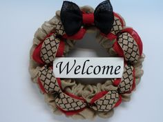 Burlap Wreath, Burlap with Welcom Sign, Front Door Wreath, Country Burlap, Large Bow, Natural and Red Burlap, Burlap Wreath for the Home by BeautifulHomeAccents on Etsy