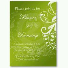 bright green reception invitations