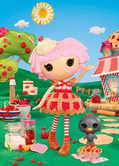 Unlike Mini Cherry Crisp Crust, regular size Lalaloopsy Cherry can't fit in a pie! That is, unless it's a really BIG pie! Cherry is warmhearted, comforting, and knows how to make her friends feel better because she thinks life is a bowl of cherries. She was sewn on February 20th (National Cherry Pie Day) and has a pet blackbird.