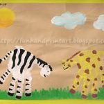 Safari Art ~ Adorable Handprint Zebra and Handprint Giraffe