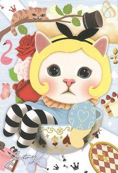 Jetoy Choo choo cat postcard - Wonderland 6   Flickr - Photo Sharing!