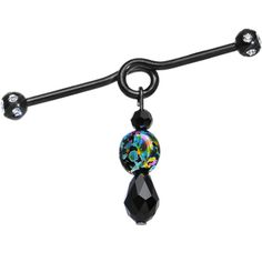 Handcrafted Crystal and Painted Fantasy Dangle Coil Industrial Barbell | Body Candy Body Jewelry #bodycandy