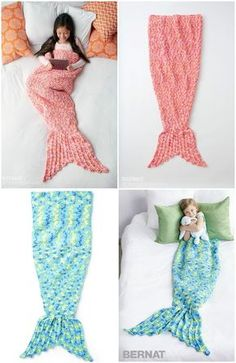 Crochet Mermaid Snuggle Sack - 22 Free Crochet Mermaid Tail Blanket Patterns