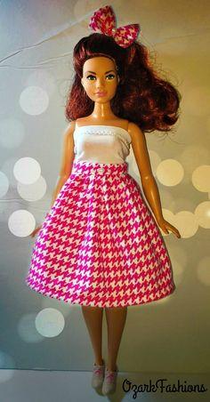 Handmade Curvy Barbie Doll Skirt  Pink skirt and by OzarkFashions