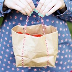 These cute little totes are made from two things you probably have in your cupboard: lunch bags and string! Adorable and oh-so sturdy!