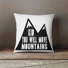 Navajo Pillow - Mountain Quote - Nursery Pillow - Aztec Pillow - Baby Bedding - Kids Decor - Monochrome Nursery Decor - Tribal Throw Pillow
