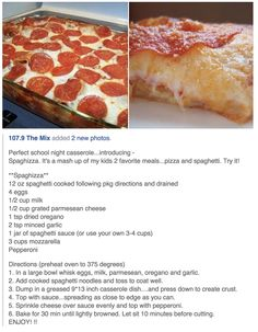 Wonder if the kids would eat this. Italian Recipes, Great Recipes, Favorite Recipes, Yummy Recipes, Recipies, Easy Casserole Recipes, Casserole Dishes, Pizza Casserole, Food Dishes