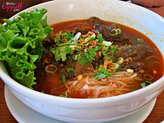 Cambodian beef stew rice noodle soup