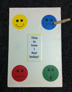 Dealing with emotions: This is How I Feel Today. Child clips a clothes pin onto the feeling they are experiencing. Social Emotional Learning, Social Skills, Friendship Activities, Positive Behavior Support, Conscious Discipline, Therapy Games, Creative Curriculum, Feelings And Emotions, School Counselor