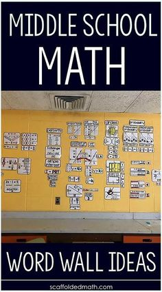 Middle School Math Word Wall Ideas for and grade math. The word walls in this post show math vocabulary in action with bold concepts seen from anywhere in the classroom. Math Vocabulary Words, Math Words, Vocabulary Instruction, Math Classroom Decorations, Classroom Projects, Classroom Design, Math Bulletin Boards, Math Word Walls, Middle School Classroom