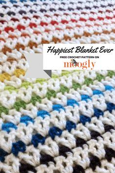 Make Moogly's Happiest Blanket Ever with Lion Brand Vanna's Choice! Great stashbuster project!