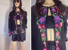 80s Sequin Beaded Jacket Vintage Beaded Cardigan. Oversized Beaded Floral Top  Slouchy Trophy Top 1980s Party Top Plus sized XL 44 in bust