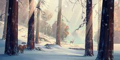 Winter forest, Hjalmar Wåhlin on ArtStation at https://www.artstation.com/artwork/0D4n8