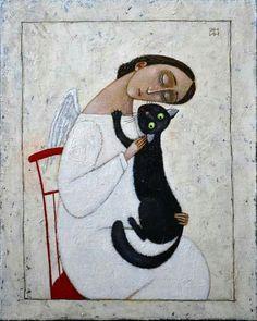 Black Cat Images, Black Cat Art, Black Cats, Illustration Art, Illustrations, Oriental Cat, Cat Character, Angel Art, Dog Art