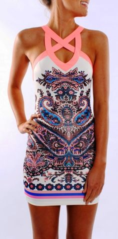 Lovely Paisley Patterned White & Pink Multicolored Fitted Body Dress