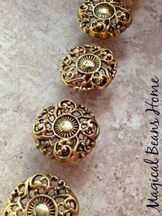 Vintage Brass Filigree Knob / Polished Gold Pull with Curly Ques Design  / Decorative Restoration Hardware for Furniture, Cabinets & Decor by MagicalBeansHome on Etsy