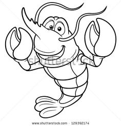 Vector illustration of Cartoon shrimp - Coloring book