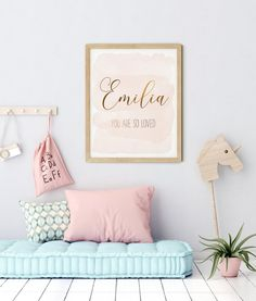 Nursery Name, You Are So Loved, Nursery Decor Girl, Custom Print by LilaPrints. Girls Room Wall Art, Baby Girl Nursery, Baby Shower Gift Baby Girl Bedroom. Perfect artwork for the nursery decor. Modern, chic, sophisticated. #scriptureprints #kitchenwalldecor #nurserydecor #bedroomdecor