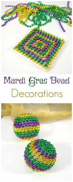 Quick and easy Mardi Gras decorations that you and the kids can make with all those leftover Mardi Gras Beads.